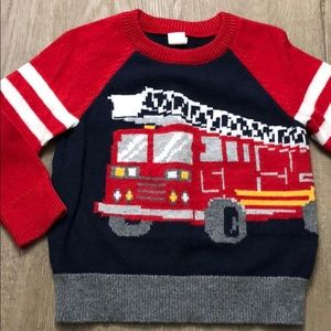 Gap Boy 2T wool blend Firetruck sweater